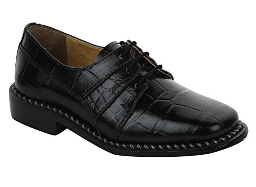 Liberty Boys Gliders Genuine Leather Crocodile Print Lace Up Dress Shoes (Size 2 UK/Age 4-8 Years/Length 21Cm, - Liberty 2 Kids