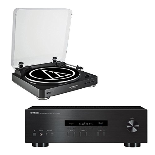 Yamaha R-S202 Bluetooth Stereo Receiver with Audio Technica AT-LP60-USB USB & Analog Stereo Turntable (Black) by Yamaha