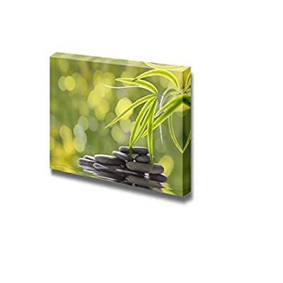 Green Plants and Smooth Stones Spa Beauty Wellness Concept Retro Style - Canvas Art Wall Art - 32