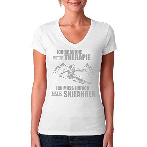 Fun Sprüche Girlie V-Neck Shirt - Skifahren ist Therapie by Im-Shirt Weiß