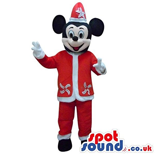 Mickey Mouse Disney Character Plush SPOTSOUND US Mascot Costume In A Santa Clothes (Disney Character Mascot Costumes)
