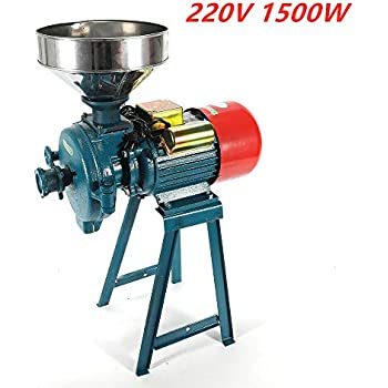 SLSY Electric Mill Grinder 110V 3000W Milling Machine Cereals Grinder Rice Corn Grain Coffee Wheat with Funnel Commercial Electric Feed Mill Dry Wet Grinder