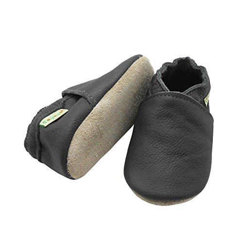 Image of Sayoyo Baby Soft Sole Prewalkers Baby Toddler Shoes Leather Infant Shoes Dark Grey