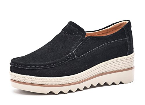 Rainrop Women Platform Slip On Loafers Shoes Comfort Suede Moccasins Fashion Casual Wedge Sneakers Black 41
