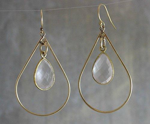 Rose Quartz Simple 14kt Gold Fill Chandelier Earrings