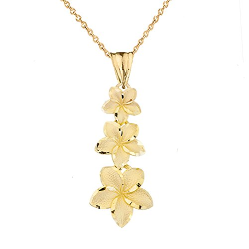 Elegant 10k Yellow Gold Hawaiian Plumeria Flowers Charm Pendant Necklace, 16""