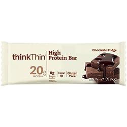 thinkThin High Protein Bars, Chocolate Fudge 2.1 oz Bar (10 Count)