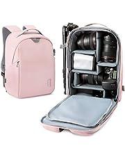 Camera Backpack, BAGSMART DSLR SLR Camera Bag Fit up to 13.3 inch Laptop, Water Resistant with Splash Cover, Tripod Holder for Women, Pink