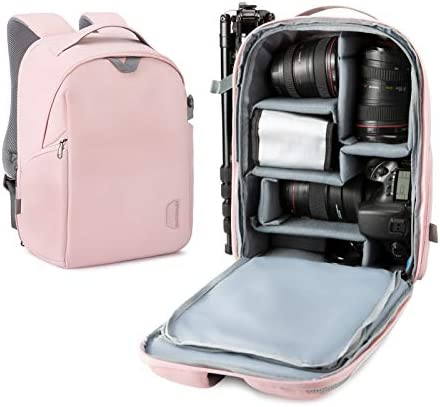 BAGSMART Camera Backpack, DSLR SLR Camera Bag Fits as much as 13.3 Inch Laptop Water Resistant with Rain Cover, Tripod Holder for Women and Girls, Pink