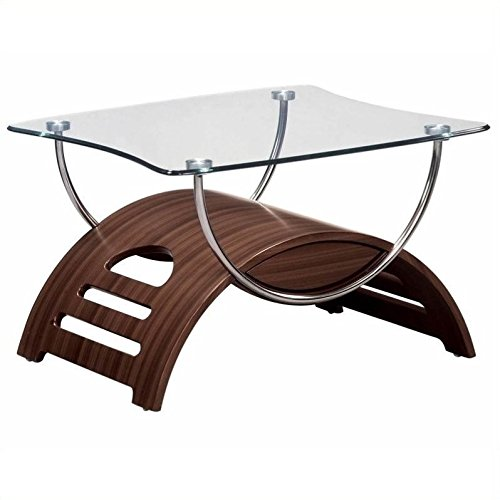 (Global Furniture Chrome Occasional End Table with Mahogany Legs)