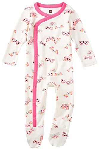 Tea Collection Baby Girls Flutterby Footed Romper, Chalk, (Collection Sleepwear)