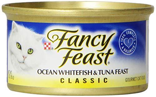 Purina Fancy Feast Grain Free Pate Wet Cat Food; Classic Pate Ocean Whitefish & Tuna Feast  - (24) 3 oz. Cans