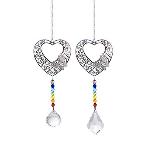 - Crystal Suncatchers Hollow Hearts Hanging Pendant Prism Windows Decorations Pack of 2