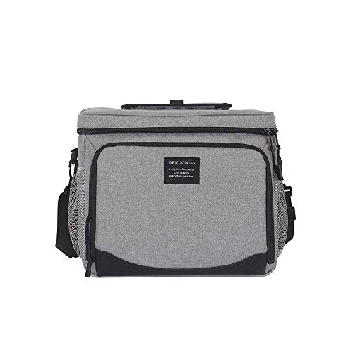 Large Insulated Cooler Bag 36-Can Cooler Picnic Bag, 23L Double Decker Soft Cooler Soft-Sided Cooler Bag Large Tote for Beach/Picnic/Sports Lightweight Cooler Bag Grey (Grey)
