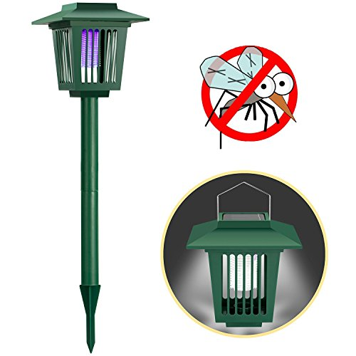 Solar Powered Bug Zapper Light, Solar Mosquito Killer Fly/Worm/Mosquitoes/Moths/Flies Killer Trap Pest Control Lamp LED Garden Lawn Light Electronic Insect Killer Waterproof for Outdoor Use