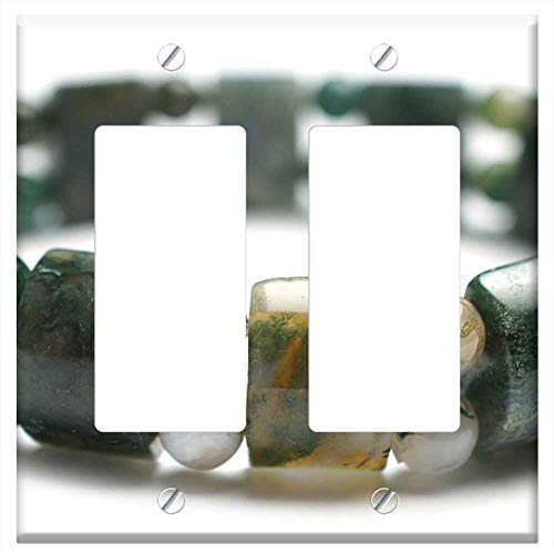 Switch Plate Double Rocker/GFCI - Moss Agate Gemstone Bracelet Bracelet Stretch Gem