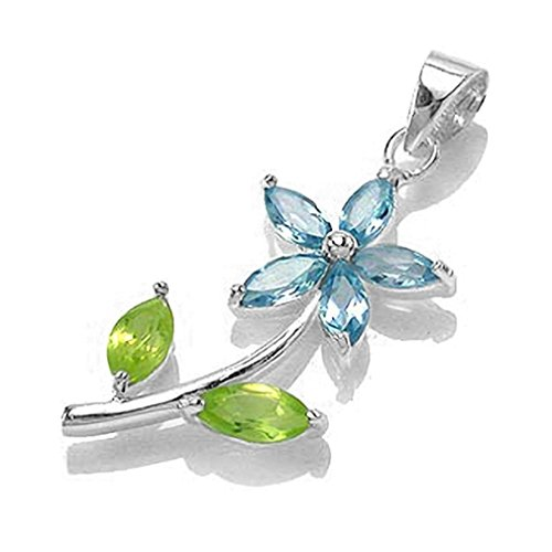 Genuine Blue Topaz & Peridot White Gold Plated 925 Sterling Silver Flower Leaf (White Leaf Pendant)
