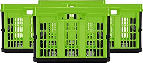 CleverMade CleverCrates 45 Liter Collapsible Storage Bin/Container: Grated Wall Utility Basket/Tote, Kiwi Green, 4 - 45% Milk