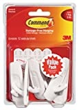 Wholesale CASE of 15 - 3M Reusable Command Adhesive Strip Hooks-Reusable Adhesive Strips w/ Hooks, Med, Holds 3 lb.,6/PK,WE