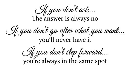 If You Dont Ask The Answer is Always No, If You Dont Go After What You Want Youll Never Have It. Wall Decal Sticker Art Mural Home Décor Quote Inspiring Inspirational Courage