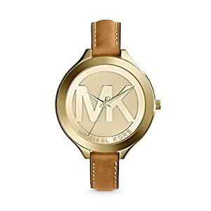 Michael Kors Mid-Size Luggage Leather/Goldtone Stainless Steel Slim Runway Three-Hand Watch