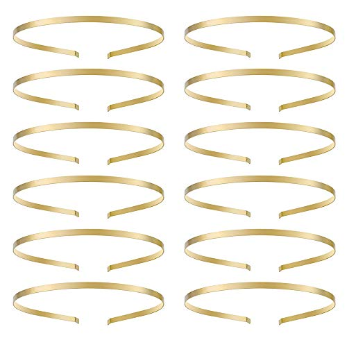 Solid Gold Hair - Hair Headbands for Women,No Slip Solid Metal Headband for Girl Ladies Hair Accessories Jewelry Gold Pack of 12