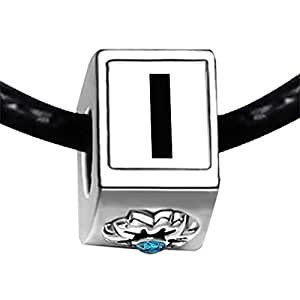 Chicforest Silver Plated Black Letter I Photo Blue Zircon Crystal December Birthstone Flower Charm Beads Fits Pandora Bracelet