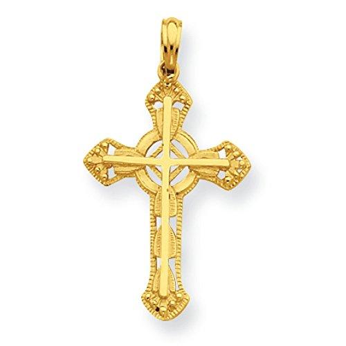Croix en or 14carats avec pendentif croix orné