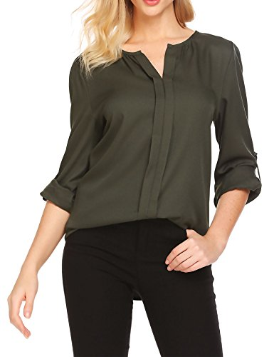 Unibelle Womens Band Collar Roll Sleeve Button Down Chiffon Blouse Shirt,Army (Slack Band)
