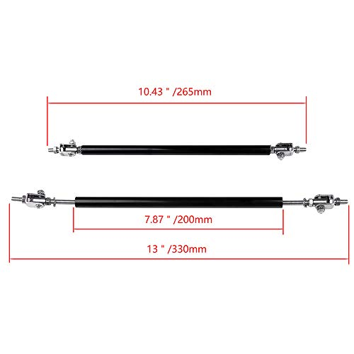 LUJUNTEC 2X Black Universal Adjustable Bumper Lip Diffuser Splitter Rod Strut Tie Bar 7.87