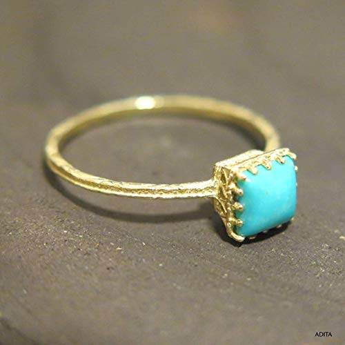 14K Gold Turquoise Ring - 14K Solid Yellow Gold Dainty Ring, December Birthstone, 5x5mm Square Gemstone, Minimalist Handmade Gift, Unique Thin Midi Promise Ring, Simple Minimal Jewelry for Women
