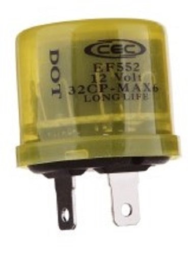 CEC Industries EF552 Electronic Turn Signal Flasher Relay, 2 Prongs, 12 Volts