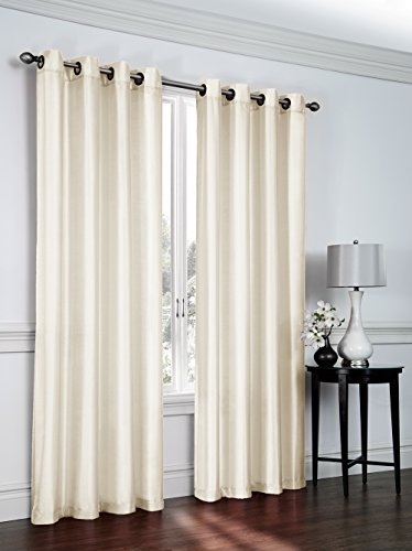 Regal Home Collections Artisan 54-Inch Wide X 84-Inch Long Faux Silk Window Panel with Grommets, Beige