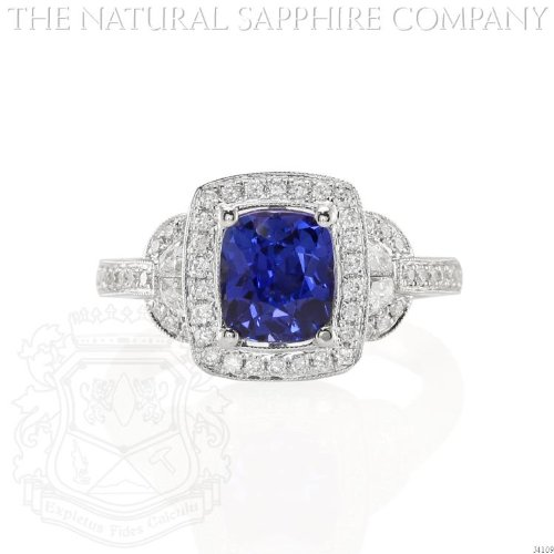 2.07ct Natural Untreated Blue Sapphire in 18k White Gold Ring with .53cts of Diamonds (J4109) ()
