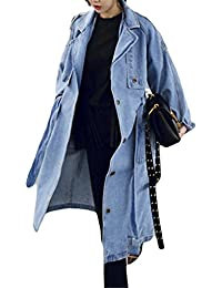 Ivan Johns Warm Women Casual Loose X-Long Denim Trench Coat Female Denim Overalls Plus