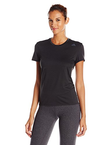 adidas Womens running Supernova Short sleeve Tee, black, Small