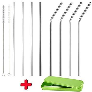 Accmor 18/8 Stainless Steel Straws, Reusable Metal Drinking Straws for 20 Oz Yeti Tumbler Rambler Cups (8, FBA)