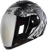 Steelbird SBA-2 Race Full Face Helmet in Matt Finish With Chrome Visor (Large 600 MM, Matt Black/Grey)