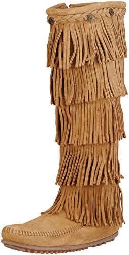 Minnetonka Women's Fringed Suede Leather Boot Taupe 7 US