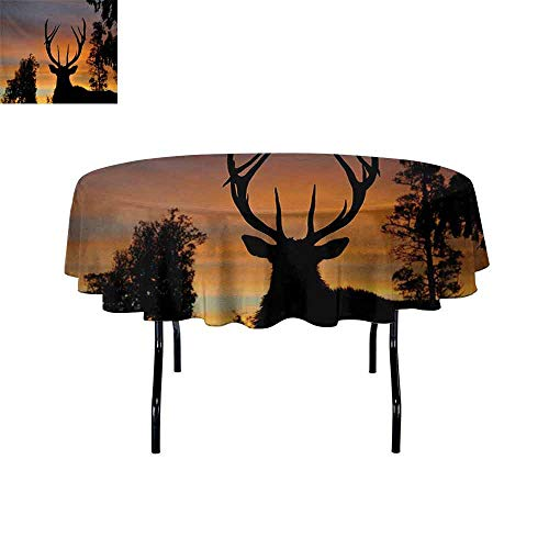 GloriaJohnson Antlers+3D+Printed+Round+Tablecloth+Black+Deer+on+Sky+Background+West+Coast+South+Island+New+Zealand+Nature+Desktop+Protection+pad+D67+InchSeal+Brown+Marigold+