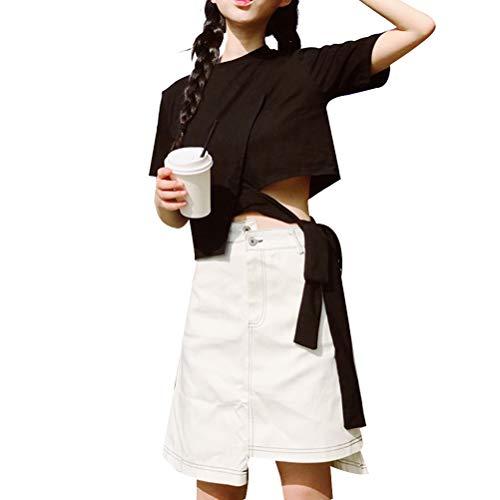 保証金扇動セットアップ[Beepoo] スーツ Tシャツ スカート パンツ レディース ジーンズ 半袖 ブラック ホワイト アウトドア 2点セット 個性 無地 ファッション 夏