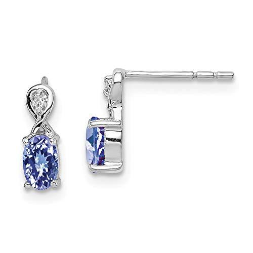 925 Sterling Silver Diamond Blue Tanzanite Oval Post Stud Earrings Drop Dangle Fine Jewelry Gifts For Women For Her