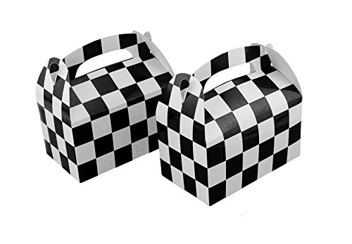 ckered Racing Treat Boxes Race Car Theme Party Favors ()