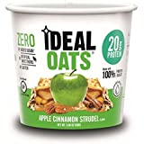 Ideal Oats Gluten Free Protein Oatmeal To-Go, Apple Cinnamon Strudel (6 Pack) - 20g Protein, No Added Sugar