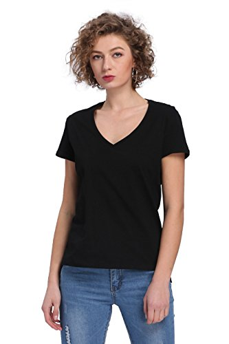 - Payeel Organic Cotton T-Shirt Women's V-Neck Loose Comfy Pullover Top Tee (S, Black)