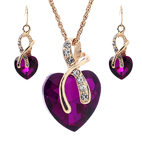 (❤️Jonerytime❤️Fashion Heart Shaped Crystal Zircon Set Necklace Earrings Women's Jewelry (Purple))