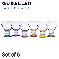 6x Gurallar Coral glass Colored Ice Cream Cup Set by L&G London Uniforms U.K.