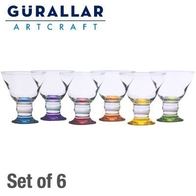 6x Gurallar Coral glass Colored Ice Cream Cup Set by L&G London Uniforms U.K.