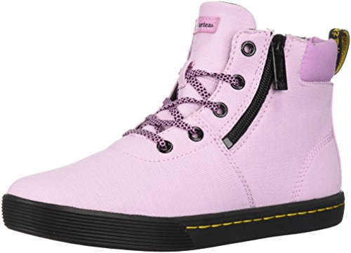 Dr. Martens Women's MAEGLEY Fashion Boot, Mallow Pink Woven Textile+FINE Canvas, 6 Medium UK (8 US)