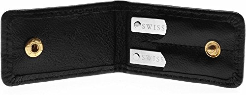 Cuff-Daddy Adjustable Solid Sterling Silver Collar Stays - 1 Pair in Leather Wallet
